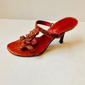 Cesare Paciotti Orange Snakeskin Sandals/ Sz:6